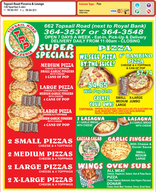 Topsail Road Pizzeria & Lounge (709-364-3537) - Menu