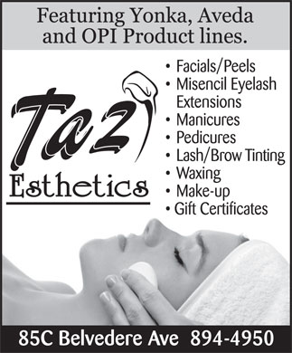 Taz Esthetics (902-894-4950) - Display Ad