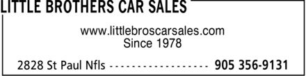 Little Brothers Car Sales (905-356-9131) - Display Ad - www.littlebroscarsales.com Since 1978 www.littlebroscarsales.com Since 1978