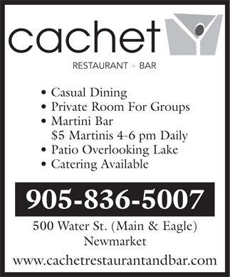 Cachet Restaurant & Bar (905-836-5007) - Display Ad
