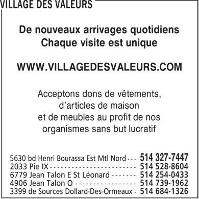 Village des valeurs 5630 boul henri bourassa e for Loca meuble henri bourassa