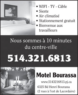 Motel Bourassa Enrg (514-321-6813) - Display Ad