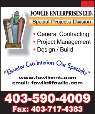 Fowlie Enterprises Ltd (403-590-4009) - Annonce illustrée