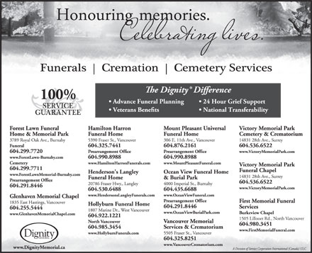 Forest Lawn Funeral Home & Memorial Park (604-299-7720) - Display Ad