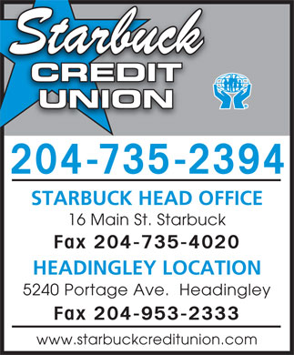 Starbuck Credit Union (204-735-2394) - Display Ad