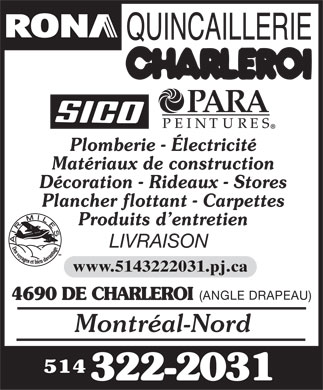 Rona Quincaillerie Charleroi (514-322-2031) - Display Ad