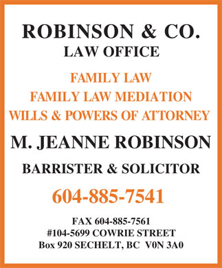 Robinson & Co Law Office (604-885-7541) - Annonce illustrée