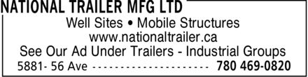 National Trailer Mfg Ltd (780-469-0820) - Annonce illustrée
