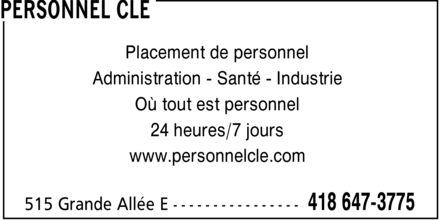 Personnel Cl&eacute; (418-647-3775) - Annonce illustr&eacute;e