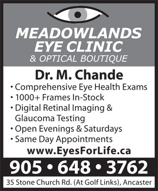 Meadowlands Eye Clinic & Optical Boutique (905-648-3762) - Display Ad