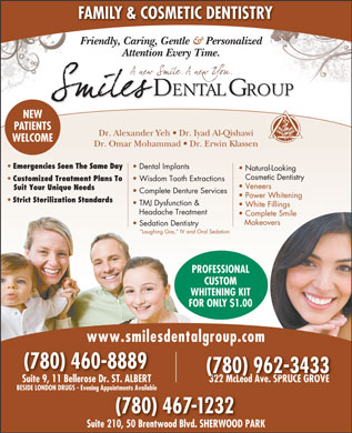 Spruce Grove Smiles Dental Grp (780-962-3433) - Display Ad