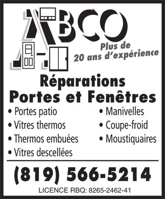 ABCO R&eacute;paration Portes Et Fen&ecirc;tres (819-566-5214) - Annonce illustr&eacute;e