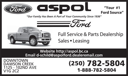Ford Aspol Motors Rentals Ltd (250-782-5804) - Display Ad