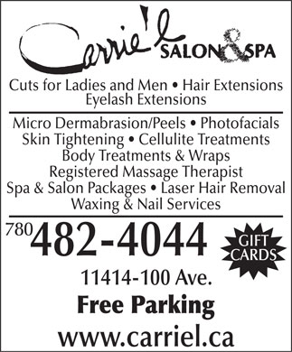 Carrie'L Salon & Spa (780-392-9883) - Display Ad