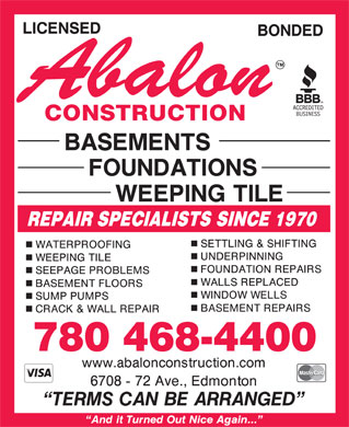 Abalon Construction (780-392-9795) - Annonce illustr&eacute;e - 780 468-4400