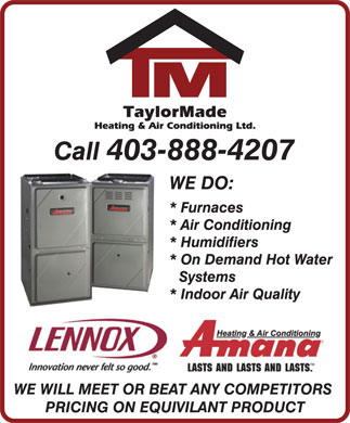 Taylormade Heating &amp; Air Conditioning (403-888-4207) - Annonce illustr&eacute;e