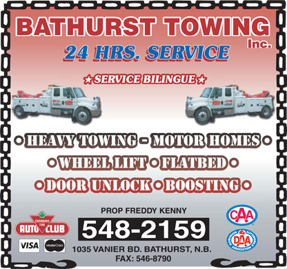 Bathurst Towing (506-548-2159) - Display Ad