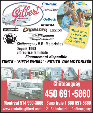 Roulottes Gilbert (450-691-5860) - Annonce illustr&eacute;e