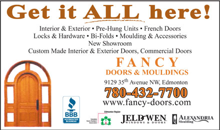 Fancy Doors & Mouldings (780-432-7700) - Annonce illustrée