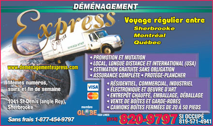 Déménagement Express Sherbrooke (1-877-579-8938) - Display Ad