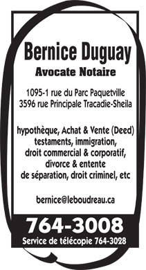 Duguay Bernice Avocate (506-764-3008) - Display Ad