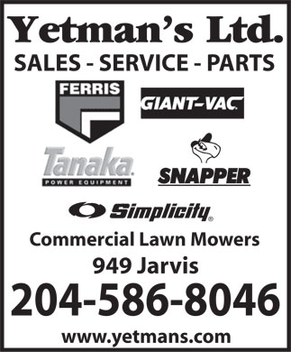Yetman's Ltd (204-515-1139) - Display Ad