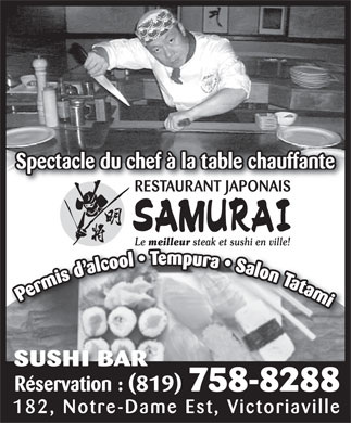 Restaurant Japonais Samurai Plus (819-758-8288) - Annonce illustr&eacute;e