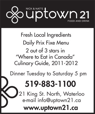 Nick & Nat's Uptown 21 (519-883-1100) - Display Ad