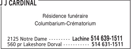 J J Cardinal Funeral Home (514-639-1511) - Annonce illustr&eacute;e - Funeral Home Columbarium-Crematorium