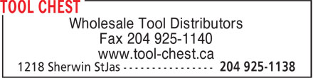 Tool Chest (204-925-1138) - Annonce illustrée - Fax 204 925-1140 www.tool-chest.ca Wholesale Tool Distributors