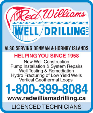 Red Williams Well Drilling Ltd (1-800-399-8084) - Display Ad