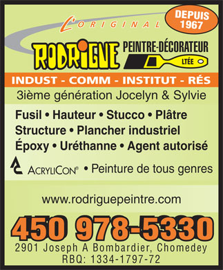 Rodrigue Peintre Décorateur Ltée (450-232-5531) - Display Ad
