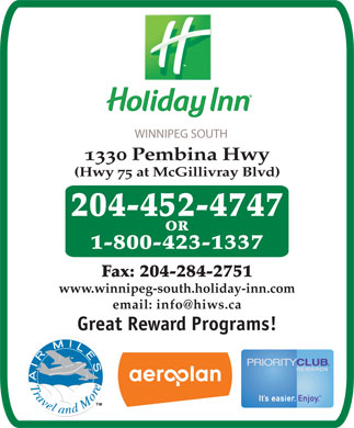 Holiday Inn Winnipeg South (204-452-4747) - Annonce illustrée