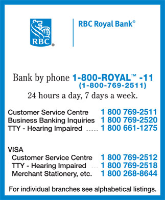 RBC Royal Bank (1-800-769-2511) - Annonce illustrée