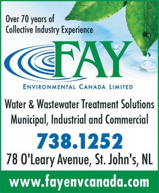 Fay Environmental Canada Limited (709-738-1252) - Display Ad