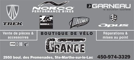 Boutique De V&eacute;lo La Grange (450-974-3329) - Annonce illustr&eacute;e - PERFORMANCE BIKES R&eacute;parations &amp;Vente de pi&egrave;ces &amp; BOUTIQUE DE V&Eacute;LO mises au pointaccessoires LA 450-974-3329 2950 boul. des Promenades, Ste-Marthe-sur-le-Lac
