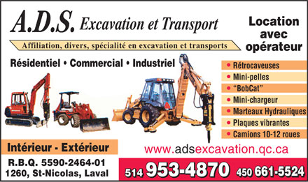 ADS Excavation Et Transport Inc (450-661-5524) - Display Ad