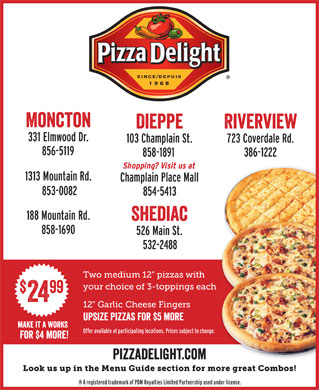 Pizza Delight Take Out & Delivery Service (506-858-1891) - Annonce illustrée - font interstate regular compressed