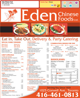 Eden Chinese Food (416-461-0813) - Menu