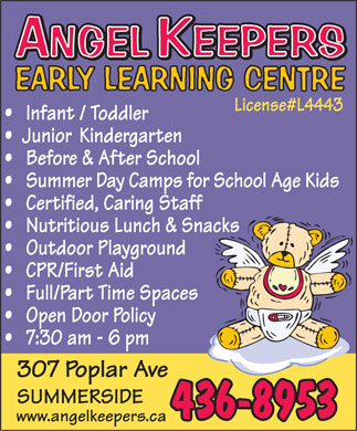 Angel Keepers Early Learning Centre (902-436-8953) - Annonce illustrée - www.angelkeepers.ca