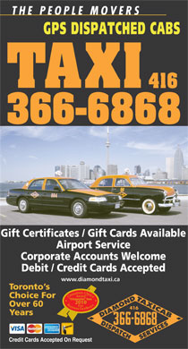 Diamond Taxicab Dispatch Services Ltd (416-366-6868) - Display Ad