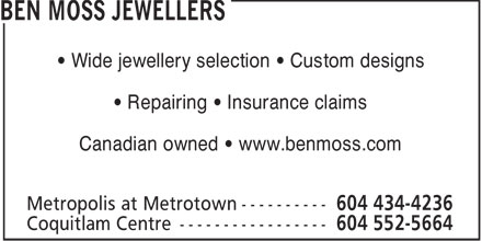 Ben Moss Jewellers (604-434-4236) - Display Ad