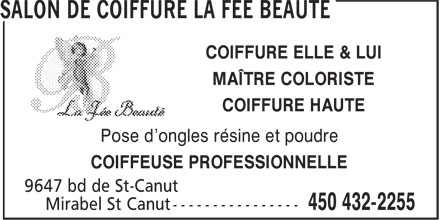 salon la f e beaut 9637 boul de saint canut mirabel qc. Black Bedroom Furniture Sets. Home Design Ideas