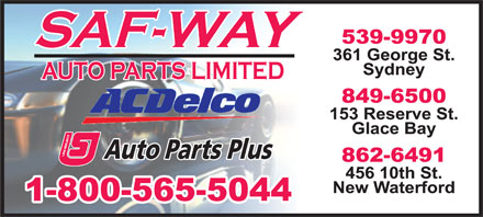 Saf-Way Auto Parts Limited/Auto Parts Plus (902-539-9970) - Annonce illustr&eacute;e