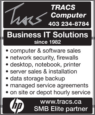 Tracs Computer Repair Inc (403-234-8784) - Display Ad
