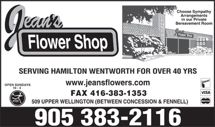 Jean's Flower Shop Inc (905-383-2116) - Display Ad