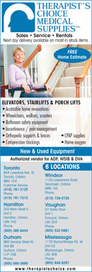 Therapist's Choice Medical Supplies Inc (416-781-7210) - Display Ad