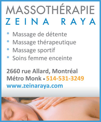 Massothérapie Zeina Raya (514-531-3249) - Display Ad