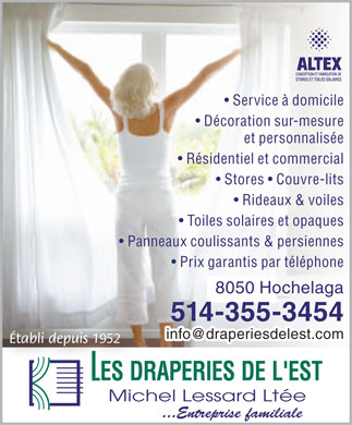 Draperies De L'Est Michel Lessard Ltée (514-355-3454) - Display Ad