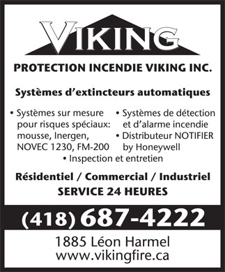 Viking Fire Protection Inc (418-687-4222) - Display Ad